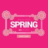 De de vector van het het ontwerpmalplaatje van de de lenteverkoop banner of markering op roze achtergrond Het abstracte roze etik Stock Afbeelding