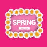 De de vector van het het ontwerpmalplaatje van de de lenteverkoop banner of markering op roze achtergrond Het abstracte roze etik Royalty-vrije Stock Fotografie