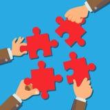 De Vector van het oplossingsconcept De Stukken van zakenmanhands connecting puzzle Succesvolle lancering van opstarten Verwarrend royalty-vrije illustratie