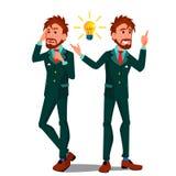 De Vector van het oplossingsconcept Zakenman Oplossing van het probleem De Strategie van het succes De brainstorming, vindt Uitwe royalty-vrije illustratie