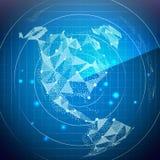 De vector van het radarscherm Kaarten van de beeldspraak van NASA Het digitale Scherm met Wereldkaart De achtergrond van de techn stock illustratie