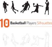 De Vector van het de Silhouettenoverzicht van de basketbalspeler royalty-vrije illustratie