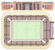 De Vector van de het Stadionillustratie van het voetbalvoetbal Stock Foto's