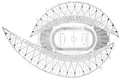 De Vector van de het Stadionillustratie van het voetbalvoetbal Royalty-vrije Stock Afbeeldingen