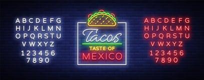 De vector van het tacoembleem Neonteken op Mexicaans voedsel, Taco's, straatvoedsel, snel voedsel, snack Heldere neonaanplakborde stock illustratie