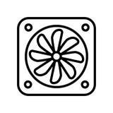 De vector van het ventilatorpictogram op witte elementen als achtergrond, van het Ventilatorteken, van de lijn en van het overzic stock afbeeldingen
