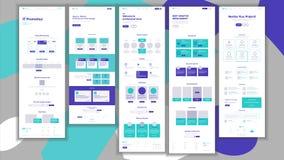 De Vector van het websitemalplaatje Pagina Bedrijfsproject Het winkelen Online Landende Web-pagina Manager Meeting Collectief con royalty-vrije illustratie