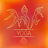 De Vector van het yogaembleem in overzichtsstijl Stock Afbeeldingen