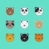 De Vector van hondcat bear tiger animal head vector illustratie