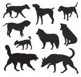 De vector van hondsilhouetten Royalty-vrije Stock Foto's