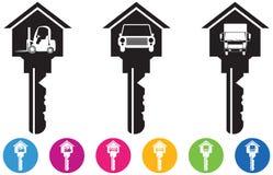 De vector van Huis en zeer belangrijke pictogrammen en de knopen plaatsen in auto, vrachtwagen en Royalty-vrije Stock Foto's