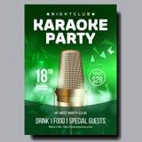 De Vector van de karaokeaffiche Clubachtergrond Mic Design De Banner van de karaokedisco Stemmateriaal Zing lied Dansgebeurtenis royalty-vrije illustratie
