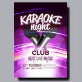 De Vector van de karaokeaffiche Clubachtergrond Mic Design De Banner van de karaokedisco Stemmateriaal Zing lied Dansgebeurtenis vector illustratie