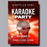De Vector van de karaokeaffiche Discobanner Het Materiaal van de karaokestem Zing lied Vermaakconcurrentie Media Aankondiging vector illustratie