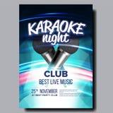 De Vector van de karaokeaffiche Discobanner Het Materiaal van de karaokestem Zing lied Vermaakconcurrentie Media Aankondiging royalty-vrije illustratie