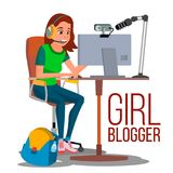 De Vector van meisjesblogger Populaire Videovlog, liet s-Spel, Overzichtskanaal Online het Stromen Video De Schepper van meisjesb vector illustratie