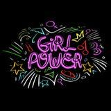 De vector van de meisjesmacht Vrouwen motievenslogan royalty-vrije stock afbeelding