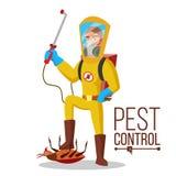 De vector van de Ongediertebestrijdingsdienst Hygiëne, Schonere Was Ongedierteverwijdering Uitroeier Of Insects Vlak beeldverhaal Stock Foto