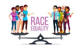 De Vector van de rasgelijkheid Status op schalen Gelijke kans Geen racisme Verschillend Ras samen tolerantie Geïsoleerde vector illustratie