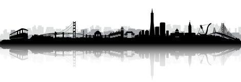 De vector van San Francisco Skyline Silhouette Royalty-vrije Stock Foto's
