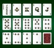 De vector van speelkaarten. Alle Clubs Stock Fotografie