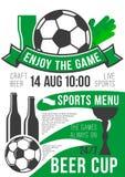 De vector van de de sportbar van het affichevoetbal bar van het de voetbalbier Stock Afbeeldingen