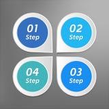 de vector van 4 stappeninfographics Geïsoleerde wijzersymbolen met aantallen op gestippelde achtergrond Stock Afbeelding