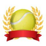 De Vector van de tennistoekenning De achtergrond van de sportbanner Gele Bal, Rood Lint, Laurel Wreath 3d realistische illustrati Royalty-vrije Stock Afbeeldingen