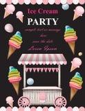 De Vector van de de uitnodigingskaart van de roomijspartij De cabine van het de zomerroomijs Van de verjaardagskaart of gebeurten vector illustratie