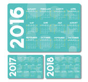 De vector van 2018 van kalender 2016 2017 Stock Afbeeldingen