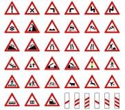 De vector van de de verkeerstekeninzameling van wegeuropa die op witte achtergrond wordt geïsoleerd royalty-vrije illustratie