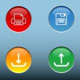 De vector van vier kleurenknopen met sparen druk uploadt en downloadt vector illustratie