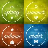 De vector van vier seizoenenetiketten Royalty-vrije Stock Foto