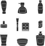 De vector van vrouwenschoonheidsmiddelen isoleerde zwarte pictogrammen royalty-vrije stock fotografie