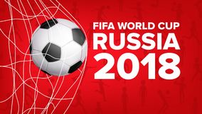 2018 de Vector van de de Wereldbekerbanner van FIFA De Gebeurtenis van Rusland Voetbalontwerp voor Het vereiste ball Grafisch voe stock illustratie