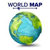 De Vector van de wereldkaart 3d Planeetgebied Aarde met Continenten Noord-Amerika, Zuid-Amerika, Afrika, Europa Geïsoleerde Royalty-vrije Stock Foto
