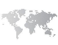 De vector van de wereldkaart, op witte achtergrond wordt geïsoleerd die Vlakke Aarde, grijs kaartmalplaatje voor websitepatroon,  vector illustratie