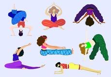 De Vector van yogameisjes stock illustratie