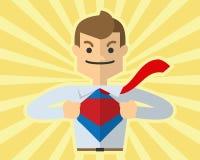 De vector van zakenman opent zijn overhemd zoals super held, superman, Royalty-vrije Stock Fotografie
