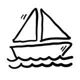 De Vector van de zeilbootkrabbel Royalty-vrije Stock Afbeeldingen