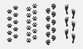 De vector vastgestelde dieren van de voetdruk royalty-vrije illustratie