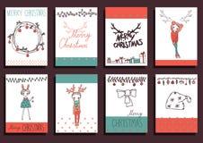 De vector Vastgestelde Elementen van het Kerstmis Kalligrafische Ontwerp Stock Afbeelding