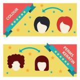 De vector Vastgestelde Etiketten en de Pictogrammen van de Haarsalon Stock Afbeelding