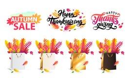 De vector vastgestelde de herfst gevallen bladeren in gift die doet goud, zwart wit in zakken, winkelen Dankzegging het van lette vector illustratie