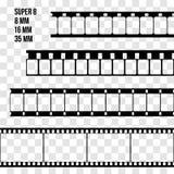 De vector Vastgestelde Illustratie van de Filmstrook op transparant Stock Afbeelding