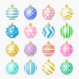 De vector vastgestelde kleurrijke realistische stijl van de Kerstmisbal Royalty-vrije Illustratie