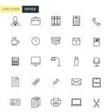 De vector vastgestelde pictogrammen van de bureaulijn Stock Foto