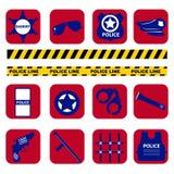 De vector vastgestelde symbolen van de silhouetpolitie in donkerblauwe kleur Stock Fotografie