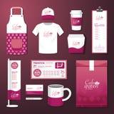 De vector vastgestelde vlieger van de restaurantkoffie, menu, pakket, t-shirt, GLB, eenvormig ontwerp vector illustratie