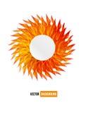 De vector vectorkaart van de cirkel oranje bloem. samenvatting Stock Afbeelding